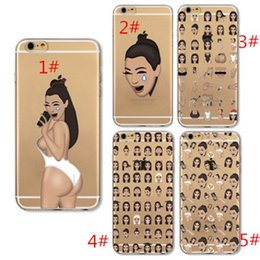 Wholesale Iphone Case Kim Kardashian Crying Face KIMOJI Case For Iphone s Plus Transparent Silicone Cell Phone Cover