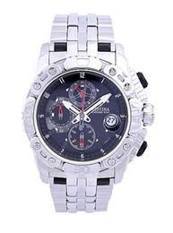 Wholesale Gentleman quartz watch series F16542 men tour DE France hour meter all black dial silver steel strap chronograph original box