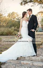 Wholesale 2016 Boho Garden Beach Sweetheart Neck Wedding Dresses Crystal Belt Sweep Train Australian Style Bridal Gown Custom Made Hot Sale Summer