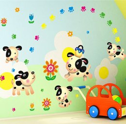Wholesale 30Pieces Cute animated cartoon dog wall stickers can be removed children bedroom sitting room adornment