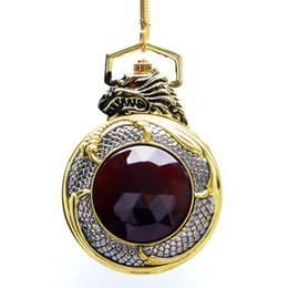 Gros-luxe Horloge collier rouge grenat Inset femmes Mal Dragon Head sur la chaîne Tone boîtier en or cadeau de Noël moderne Montre de poche à partir de montre grenat fabricateur