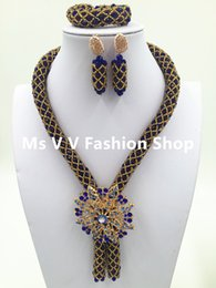 Unique royal blue gold African Bridal Women Jewelry Set Blue Brooch Indian Party Necklace Set Free Shipping