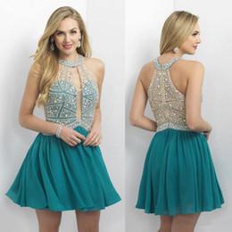 2016 New Hunter Green Luxury Major Beading Homecoming Dresses Keyhole Neck Halter Neck Crystals Short Prom Dresses Chiffon Graduation Dress