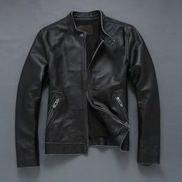 Fall-2016 New Men's black cowskin thin short motorcycle jacket genuine leather jacket chaqueta cuero hombre XS-5XL