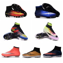 2016 Cheap children soccer shoes boys Superfly FG TF Football Boots High Ankle Soccer Shoes women Outdoor Mens Soccer Cleats High Top