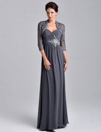 Hot Sale Long Gray Mother of the Bride Dress with Lace Jacket 3 4 Sleeve Crystals Beaded Chiffon Floor Length Women Formal Gowns Custom Made