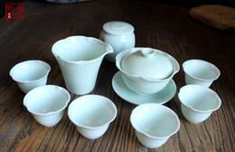 Wholesale Daily tea Cup Gift Flourishing Style Ru Yao Tea Set Ceramic Tureen Teapot Ru Kiln Porcelain Tea Cup China Collectible Handmade Travel