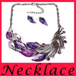 Wholesale Fashion Jewelry Sets stores Leaf Choker Necklace Charm Chunky Statement Necklaces Earrings Anklet Designs Costume Jewelry Lockets Anklets