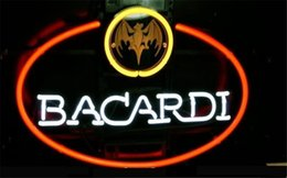 Wholesale NEON SIGN BIG BACARDI BAT RUM LOGO Custom Store Display Beer Bar Pub Club Lights Signs Shop Decorate Real Glass Tube Bulbs