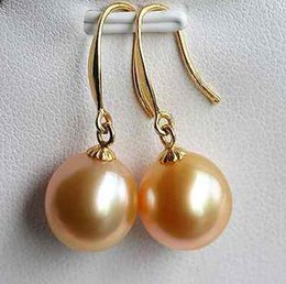 A Pair 10-11mm South Sea Gold Pink Round Pearl Earrings 14k Gold Accessories