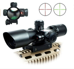 Wholesale 2 x40 Riflescopes Red Green Mil Dot Reticle Dual illuminated Sight Scope With Green Dot Laser Sight mm Rail Mount Combo
