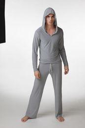 Wholesale-New 2015 Good Guality Men Pajamas Soft Comfortable Pijama Men Fashion Milk Silk Pullover With Hat Mens Pajama Sets Hoddies+pants