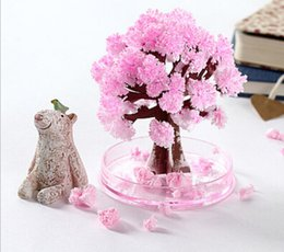 iWish Visual 2017 Magical Artificial Sakura Paper Trees Christmas Growing Tree Desktop Cherry Blossom Magic Kids New Toys For Children 10PCS
