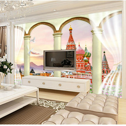 Wholesale Curtains Kid - Red Square building curtain Roman 3D large mural wallpaper bedroom living room TV backdrop painting three-dimensional wallpaper