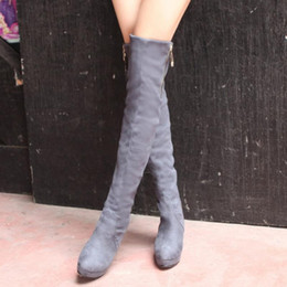 Wholesale Women Fashion Over Knee Riding Boots Fashion Ladies Flats Snow Cross Strap Round Toe Boots High Quality