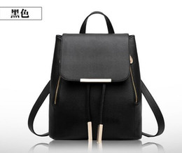 Wholesale Korean Girl Backpack Handbag - Quality korean PVC leather women leather tote handbag fashion Brand designer candy colorRivets backpacks Middle Small large Size for choice