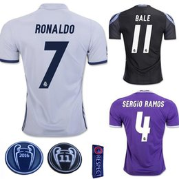 Wholesale 2017 Champions League Soccer Jersey Real Madrid Soccer Jersey Home Away rd Football Shirts Ronaldo Bale Thai Quality Jeresys