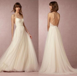 Summer Cheap Tulle And Lace Spahgetti Beach Wedding Dresses Sexy Criss Cross Long Bridal Gowns Casual Custom Made