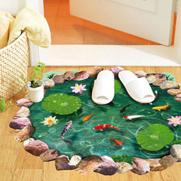 Wholesale Lotus pond D Wall Sticker Mural Decal Cabinet furniture door window Paster Home Decor Dining Living room Bedroom