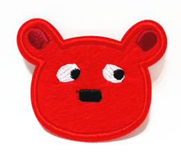 Wholesales~10 Pieces Cartoon Red Bear (8 x 7 cm) Kids Patch Embroidered Applique Animal Iron on Patch (AL)