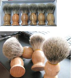 Wholesale Professional barber hair shaving Razor brushes Natural Wood Handle Badger Hair Shaving Brush For Best Men Gift Barber Tool Mens Face Care