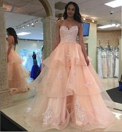 Sexy Pink Beaded Appliques Party Prom Dresses 2016 Tiered Ruffles Organza Formal Gowns Sleeveless Crystals Long Evening Gowns Pageant Dress