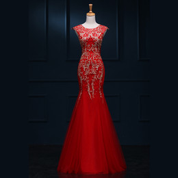 Soft Tulle Mermaid Evening Dress With Embroidery 2016 Jewel Neck Evening Party Gowns Floor Length Real Photo