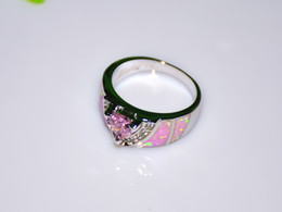 Wholesale & Retail Fashion Fine Pink Fire Opal Ring with Pink Stone 925 Silver Plated Jewelry RAL152501
