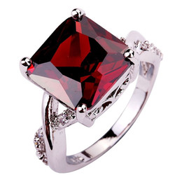 Factory Direct-Selling Jewelry Red Garnet 18K White Gold Plated Silver Fashion Ring Size 7 8 9 10 Free Shipping Wholesale