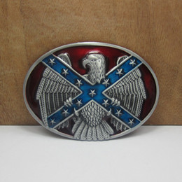 BuckleHome Rebel flag belt buckle with eagle with pewter finish FP-01198-1 free shipping