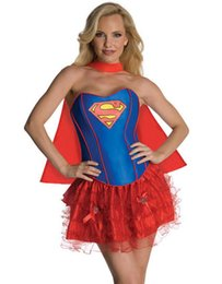 Wholesale Corset Girl Costume - New Arrival Hot Carnival Super Hero Uniform Adult DC comics costume Corset Super girl Costume W2084315