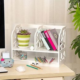 Wholesale ALightUp Bookshelf Carving White Openwork Freestanding Book Floating Shelf Desk Top Organization Caddy Stationary Storage White