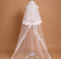 New Lace Applique Pearls Edge Two Layers With Comb Lvory White Wedding Veil Cathedral Bridal Veils 3M Length