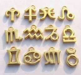 15mm High Quality Gold or Silver Tone Metal Zodiac Charms,Zodiac Signs,DIY Religious Jewelry Charms,Wholesale 120pcs lot Charms