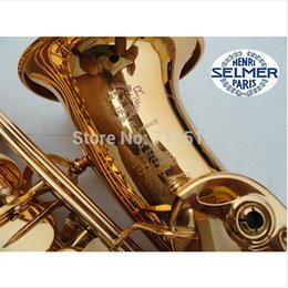 Wholesale France Henri Selmer Eb Falling Tune E F Alto Saxophone Super Series Gold Lacquer Brass Plated Musical Instruments Sax