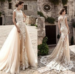 2018 Champagne Lace Mermaid Wedding Dresses Detachable Skirt Tulle Appliques Vestido De Noiva Sexy See Through Bridal Gowns