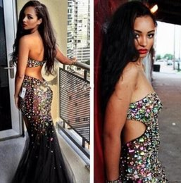 Hot Sexy Crystals Beaded Prom Dresses 2016 Black Tulle See Through Strapless Evening Gowns Backless Mermaid Floor Length Formal Party Dress
