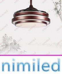 Wholesale Nimi939 pouces American Invisible Plafonniers Fan Stealth Mute LED Restaurant chinois rétro Salle à manger lumineuse éclairage acrylique
