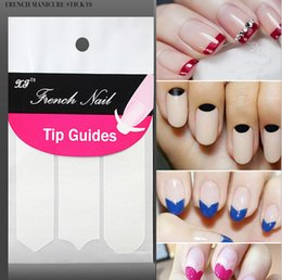 Wholesale New DIY French Manicure Nail Art Tips Tape Sticker Guide Stencil Masking Decal Beauty Tools Smile Round Wave color white pack SZ N01