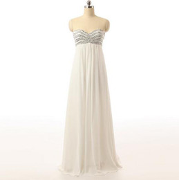 Stunning 2016 Design Sweetheart A-line White Chiffon Wedding Dress Empire Real Made Attractive robe de mariage With Sequins Beach Dress