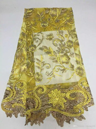 Wholesale PROMOTION handmade beautiful luxury Nigerian style french tulle net lace fabric yellow African Summer style appliqued lace fabric