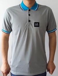 Wholesale Hot fashion men summer CP COMPANY t shirts turn down collar short sleeve men casual tees plus size S XXXL