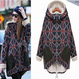 Wholesale Women s Outerwear Coats cotton padded jacket plus size Thick winter long section of the m word pattern plus velvet jacket warm coat