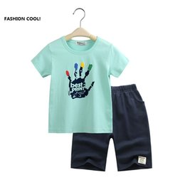 Wholesale China brand new Kids clothes hand print baby boy clothes Boys sets t shirt shorts boys clothing pre school children casual