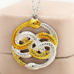 Wholesale 2016 Movie Jewelry Series The Neverending Story Movie Necklace Harry Double Snakes Gold Silver Loki Film Pendant Necklaces ZJ