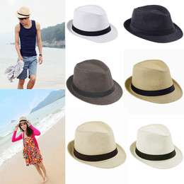 Wholesale Fashion Hats for Women Fedora Trilby Gangster Cap Summer Beach Sun Straw Panama Hat with Ribbow Band Sunhat
