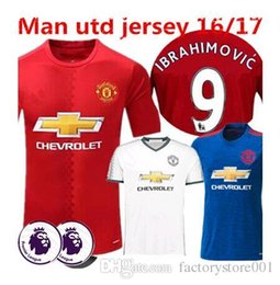 Wholesale 2016 Top Thailand Quality home away jerseys Shirts Ibrahimovic MEMPHIS ROONEY POGBA football jersey Free number printed name