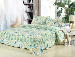 Wholesale JESSY HOME Textile Antique Chic Quilted Patchwork Green leaf Piece Quilt Set Queen King Turquoise