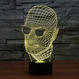2017 man glasses man in black 3D Optical Lamp Night Light 9 LEDs Night Light DC 5V Colorful 3D Lamp