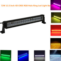 Wholesale Cree 12 Inch 72w - 13.5 Inch 72w 4D Cree Led Light Bar with 5050 RGB Halo Ring Color Morph 12 Colors by Remote Controller for Offroad Driving Jeep UTE ATV 4WD